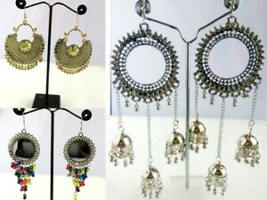 3 Pairs Kashmiri Bollywood Oxidized Indian Jhumka Jhumki Silver Gold Earrings