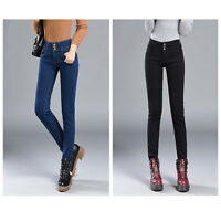 Womens Warm Fleece Lined Stretch Denim Jeggings Jeans Thermal slim Leggings AU