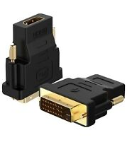 NEW Rankie DVI to HDMI Adapter Gold-Plated 1080P Male to Female Converter 2-Pack