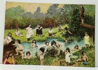 Children Swimming in Creek Harvey Hutter & Co Vintage 1970s Postcard J9