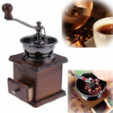 Mini Antique Hand Crank Manual Coffee Mill Wood Stand Bowl Coffee Bean Grinder