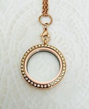 Large 30mm Magnetic Rose Gold Crystal Glass Memory Locket Stainless Steel Comes