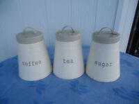 3 metal tea coffee sugar  kitchen canister set