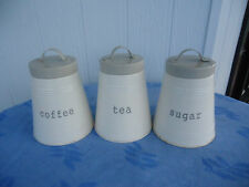 3 metal tea coffee sugar  kitchen canister set