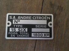 Plaque d'identification vierge constructeur  NEUF Citroen traction 15 SIX