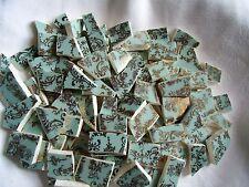 Broken China Mosaic Tiles -ROBIN'S EGG BLUE & GOLD LACE mosaic tiles