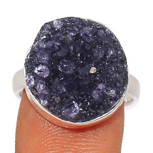 Amethyst Cluster Uruguay 925 Sterling Silver Ring Jewelry s.7 BR76857