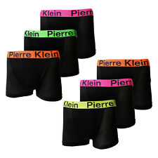 Kids Boys 6 Pk Soft Cotton Plain Black Neon Waistband Boxer Shorts Ages 5-13Yrs