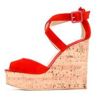 Women Peep Toe Cork Wedge High Heel Platform Sandals Cross Strap Summer Shoes