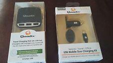 QMADIX TRAVEL CHARGING HUB 3 USB PORTS AND USB MOBILE DUO CHARGING KIT
