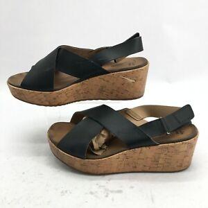 Clarks Stasha Hale Slingback Wedge Sandal Womens 10 M Crisscross Leather Black