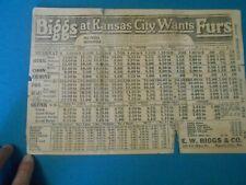 E. W. Biggs & Co Fur Price List With Flyer 1924, Traps, Trapping, Trapper