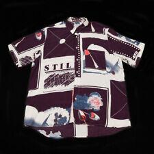 80s Vintage Italian Shirt   Large   Retro Art Party 90s Collar Button Graphic