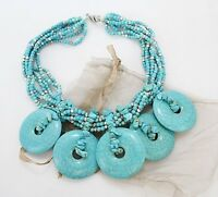CHICOS Silver & Turquoise-Tone Chunky Disc Multi-Strand Bib Beaded Necklace