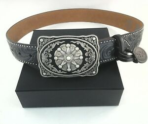 Tony Lama Womens C50649 Cowgirl Western Bk Tooled Leather Belt & Buckle Star $62