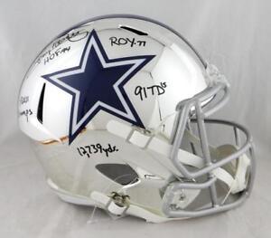 Tony Dorsett Signed Dallas Cowboys F/S Chrome Helmet w/ 5 Insc -JSA W Auth *Blk