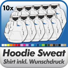 10x HOODIE KAPUZENSHIRT Fruit of the Loom, mit Ihrem Wunschdruck Wunschtext Logo