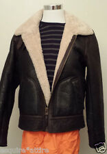 VINCE Men Size L Slim Fit Shearling Flight Jacket Brown