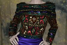vtg 80s HEAVILY SEQUINED BEADED evening TROPHY DRESS GOWN M-L amazing quality!
