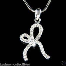 w Swarovski Crystal ~Tied Ribbon Bow  Knot~ Hollywood Celebrity Pendant Necklace
