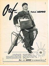 "PUBLICITE ADVERTISING   1957   ASPRO  "" ouf""  ASPIRINE"