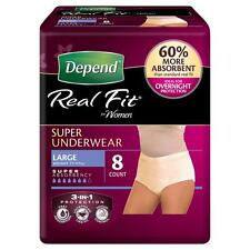 DEPEND REAL FIT UNDERWEAR WOMEN SUPER LARGE L 8 PACK OVERNIGHT PROTECTION