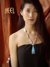 Collier Long Doré Pendantif Pompon Ethnique Mini Perle Turquoise Love QT12