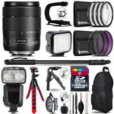 Canon 18-135mm IS USM - Video Kit + Pro Flash + Monopad - 32GB Accessory Bundle