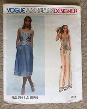 Vintage Vogue American Designer Ralph Lauren Camisole Skirt Sewing Pattern #2518