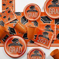 Orange 2021 Graduation Party Supplies Kit Serves 18 Guests