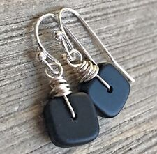 Min Favorit Opaque Black Sea Glass Square & Silver Pl Artisan Earrings Petite