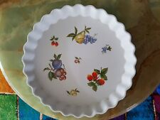 Quiche Flan Dish 26cm Wide x 4cm Deep Has Decorative Fruit Stoneware Never Used