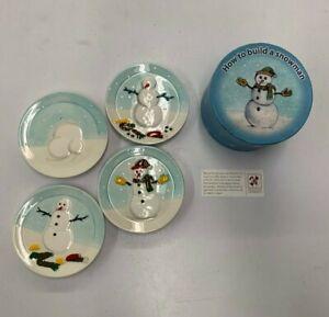 "MWW Market HOW TO BUILD A SNOWMAN 4.5"" Mini Plate Set 4Pc Blue Christmas w/ BOX"