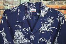 Vtg 80 HAWAII Short Sleeve Hawaiian Shirt XL Navy Blue Islands Statue Floral
