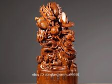 China Padauk Wood Hand Carved FengShui Auspicious Animal Two Loong Dragon Statue