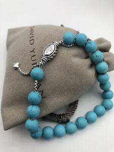 DAVID YURMAN 8mm Spiritual Bead Bracelet Sterling Silver With Turquoise