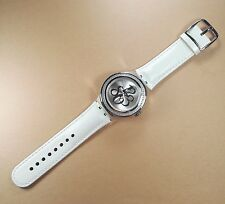 RARE Swatch Ladies Irony White Leather Swiss Made YNS107 Stainless Steel