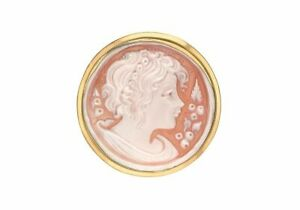 9ct Yellow Gold 25mm Round Cameo Brooch
