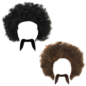 MENS 70S AFRO WIG AND MOUSTACHE 1960S 1970S HIPPY FANCY DRESS COSTUME ACCESSORY