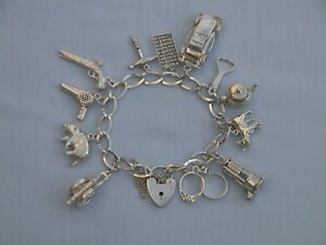 """STUNNING UNUSUAL 1970'S SOLID STERLING SILVER 7"""" CHARM BRACELET - 12 CHARMS"""