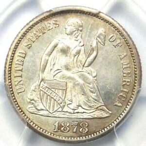 1878-CC Seated Liberty Dime 10C - PCGS Uncirculated Detail (UNC MS) - Rare Coin!