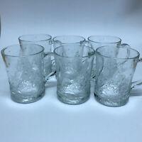 Vintage Arcoroc Of France Glass Embossed Christmas Tree Coffee Mugs Set Of 6