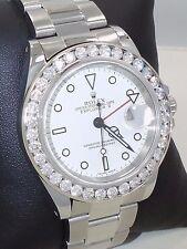 Rolex Explorer II 16570 40mm 3.25CT Diamond Bezel Steel White Dial *MINT*