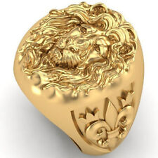 Punk Nordic Lion King Rings Size 10 Domineering Men's Fashion Gold Ring Hip Hop