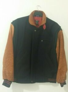 GANT The Flyer Mens Jacket Sz Large Navy Tan Wool Leather Vintage Bomber Jacket