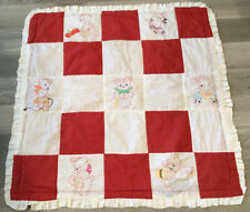 Vintage Crib Quilt, Printed Teddy Bears With Toys, Ironing, Etc. Red & White