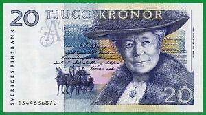 1991-92 Sweden 20 Kronor Pick # 61a*, Selma Lagerlöf  ,  UNC