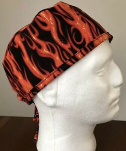 Burning Flames - Men's Surgical Scrub Hat - Skull Cap