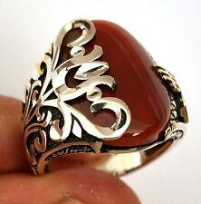 Tugra, 925 S.Silver Agate aqeeq Stone Men's Ring Sz 9 us #n006 fr.resize