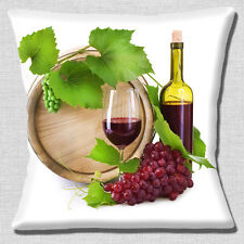 "NEW RED WINE BOTTLE GLASS GRAPE VINE WOODEN CASK WHITE 16"" Pillow Cushion Cover"